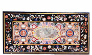 48 X 24 Black Marble Center Dining Table Top Inlay Pietra Dura Handicraft