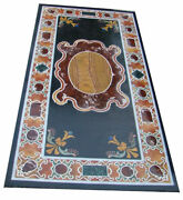 48 X 24 Marble Coffee / Dining Table Top Multi Stones Inlay Work