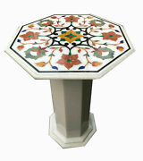 24 Marble Coffee Side End Table Top With Pietre Dura Artwork With Marble Stand