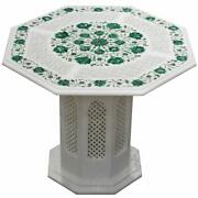 24 Marble Table Top Semi Precious Stone Malachite Inlay With Marble Stand