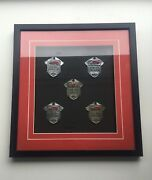 1950's Truck Driver Hat Badges - Personalized, Matted And Framed