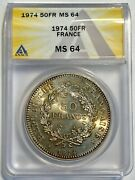 Anacs Ms64 1974 France 50 Franc 50c Silver 397