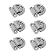 6pieces Folding Pad Eyes For Boat Caravan Rv / 316 Stainless Steel Marine D Ring