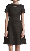 Dkny Womenand039s Size 8 Short Sleeve Mixed-media Fit And Flare Dress Black New 47