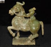 Chinese Dynasty Natural Hetian Jade Carved Warrior Ride Horse Warhorse Statue