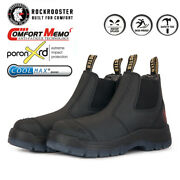 Menand039s Work Boots Safety Shoes Steel Toe Pull On Chelsea Leather For Gardening