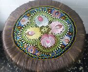 Antique Hand Embroidered 'matyo' Doily Dating To Approx 1900's.