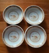 Set Of 4 Furnivals England Quail Brown Pattern 3 Inch Butter Pat Quail Stamp