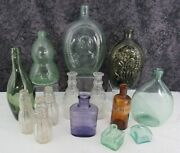 Lot 14 Antique And Vintage Blown And Pressed Glass Bottles Flasks Inkwells