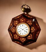 A Very Decorative Rosewood/palisandre Inlaid With Lemon Wood French Wall Clock C