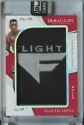 1/1 Scottie Pippen 2018 19 Immaculate Collection Game-worn Tongue Logo Patch 1/1