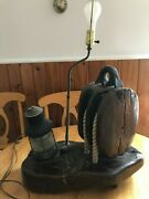 Vintage Block And Tackle Pulley Nautical Solid Wood And Rope And Lantern Lamp