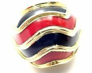 Rare Authentic Vintage And Co 18k Yellow Gold Enamel Dome Ring