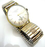 Vintage 1973 Mens Jh Industrial Bowling Pin Dial Round Face Wristwatch