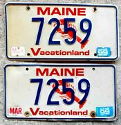 2 Maine License Plates Tags - 1999 - - Low Shipping