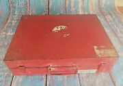 Old Vintage Heavy And Solid Red Color Metal / Tin First Aid Kit Box Vgc India