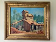 Darwin Duncan Old Mining Buildings Framed Oil Painting Noted Artist