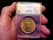 1923 20 Gold Double Eagle Coin St.gaudens Anacs Slabbed And Under Graded Au-50