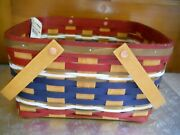 Nwt Longaberger Ohio Cake Basket + Riser + State Licence Tie-on 2016 Red/navy/ww