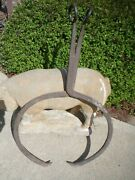 Antique Ice Block Tongs Hay Bale Tool Hand Forged Iron Stands 34 1/2 X 20 1/2