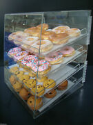 Displays2buy Acrylic Case W/4 Trays Pastry Bakery Donut Bagels Cookie