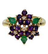 Faberge 18k Gold Ring With Diamonds Amethyst And Emeralds