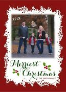Holiday Christmas Personalized Photo Card Red Frame