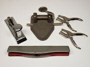 Vintage Office Supplies Lot Of 5 Pieces Hole Punch Stapler