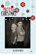 Holiday Christmas Personalized Photo Card Retro Ornaments And Snowflakes