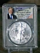 2017-w Sp70 Burnished Silver Eagle First Day Of Issue Inaugural Year