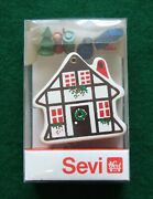 Sevi Wooden Christmas House With Figurines Vtg Made In Italy