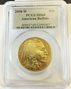 2008-w 50 American Buffalo .9999 Fine Gold Pcgs Ms 69 Very Rare