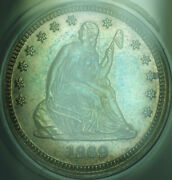 1869 Proof Seated Liberty Silver Quarter 25c Coin Anacs Pf-65 Beautifully Toned
