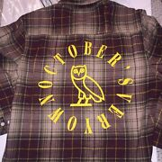 Octobers Very Own Ovo Circle Wordmark M Brown Flannel Plaid Bnwt Sold Out