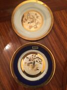 The Art Of Chokin 24k Gold Etched Copper 6 1/2'' Plates Qty 2
