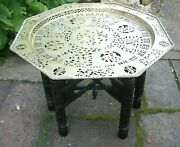 Antique Chinese Carved Folding Side Table With Pierced Brass Top