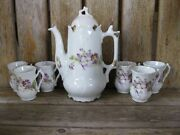 Antique Early 1900and039s Cocoa Pot Set 6 Cups Violet Vintage Shabby Chic Bavaria