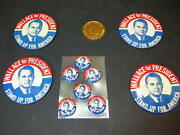 Lot Of 10 George Wallace For President Pinback Button Pins 4 X 3 And 6 X 1 +coin