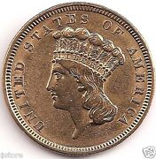 1854 Indian Head 3 Gold First Year Of The 3 Gold