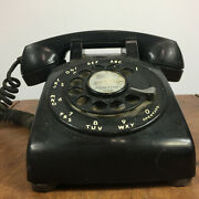 Vintage Antique Mid Century Black Rotary Dial Telephone Phone Bell Systems 500