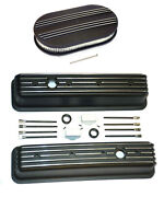 Chevy Black Aluminum Tall Finned Valve Covers And 15 Air Cleaner Kit Sbc 350