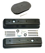 Chevy Black Aluminum Tall Finned Valve Covers And 15 Finned Air Cleaner Kit Sbc