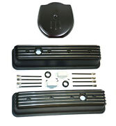 Chevy Black Aluminum Tall Finned Valve Covers And Cadillac Style Air Cleaner Kit