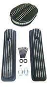 Chevy Black Aluminum Short Finned Valve Covers And 12 Air Cleaner Kit Sbc Vortec