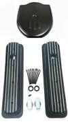 Chevy Black Aluminum Short Finned Valve Covers And Cadillac Style Air Cleaner Tbi