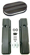 1958-86 Chevy Black Aluminum Short Finned Valve Covers And 15 Air Cleaner Kit Sbc