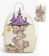 Disney Loungefly Rapunzel Tangled Tower Pascal Backpack Bag And Card Holder New