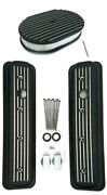 Chevy Black Aluminum Short Milled Valve Covers And 12 Finned Air Cleaner Kit 5.7l