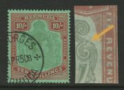 Bermuda 1938-53 10/- With And039broken Lower Right Scrolland039 Sg 119ce Fine Used.
