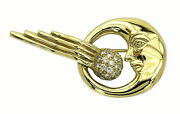 Kieselstein Cord 18k Yellow Gold And Diamonds Ladies Meteor And Moon Pin Brooch